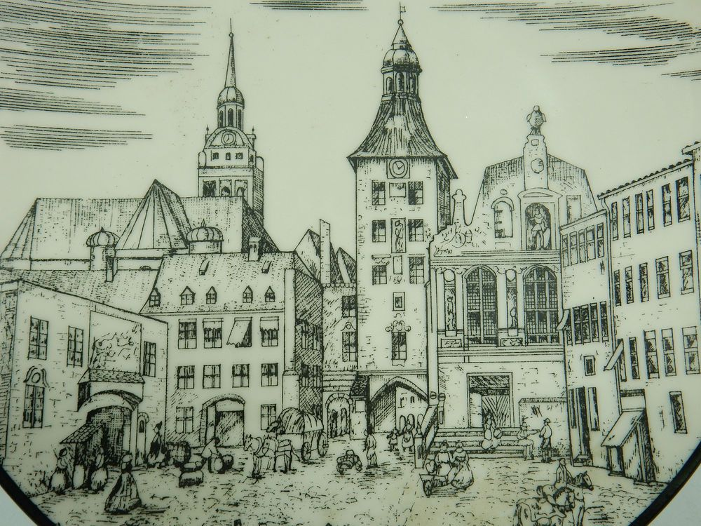 Wall Plate Munchen Munich Germany Old City Black White   Vintage ...