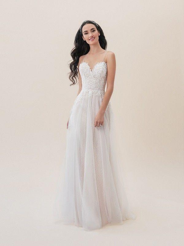 9af7f8e437 Moonlight Tango T826 romantic flowy floral bohemian informal lace wedding  dress with sweetheart neckline  bride  casualweddingdress  bridal  wedding  ...