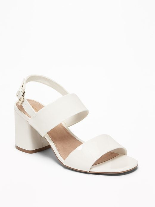 Women/'s Buckle Sling Back Low Wedge Metallic Faux Leather Sandals