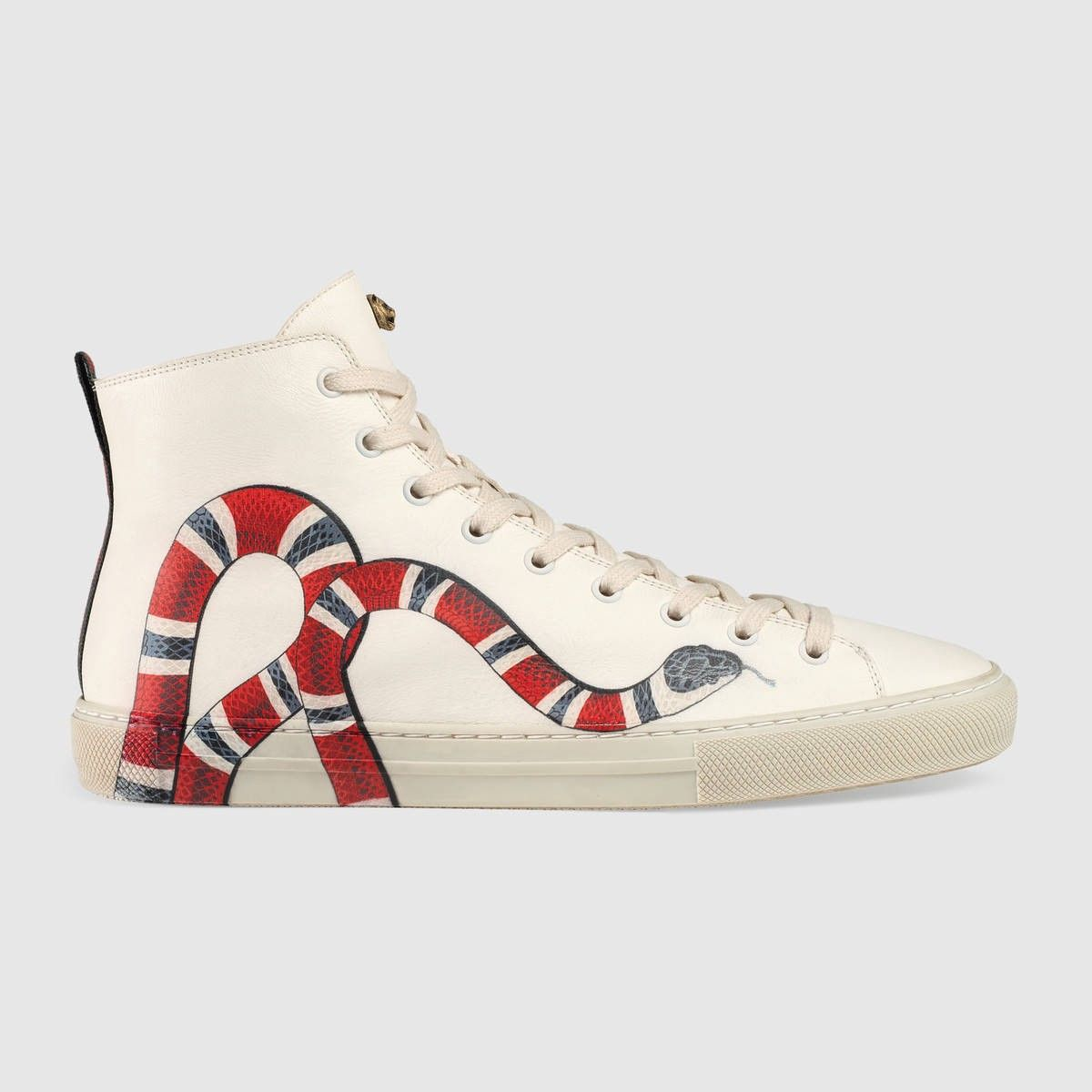 4e0bff91823 GUCCI Leather high-top with Kingsnake - white leather. #gucci #shoes ...