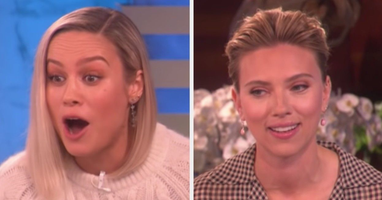 Ellen Surprised Brie Larson And Scarlett Johansson With Fan Tattoos Of Their Faces And Oh Dear Meme Faces Black Widow Tattoo Face