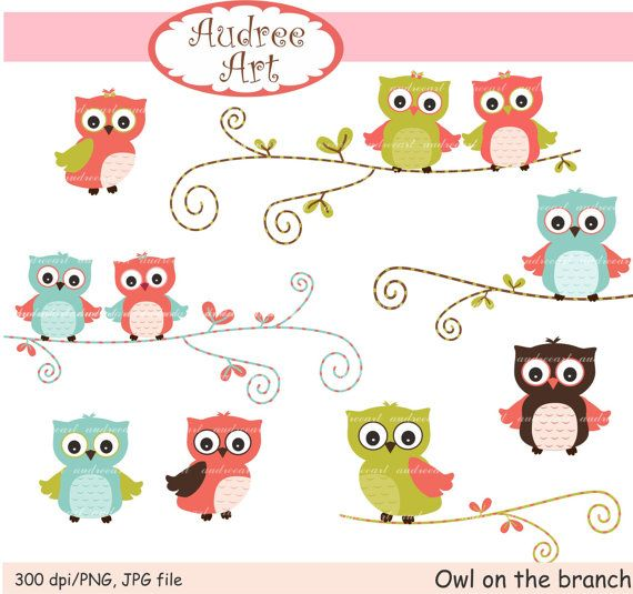 Picture Gallery For Website Owls clip art cute owls on the branch pink Owls pink by audreeart Owl BathroomOwl CartoonOwl