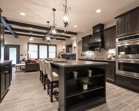 Living Room Kitchen Open Concept With Light Wood Floor Dark Cabinetry Google Search Dark Wood Kitchen Cabinets Dark Kitchen Dark Wood Kitchens
