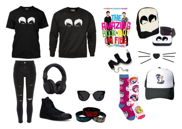 """""""chil with dan and phil"""" by emogirl-860 ❤ liked on Polyvore featuring River Island, Converse, My Little Pony, Hello Kitty, Sweet Romance, Quay and Beats by Dr. Dre"""
