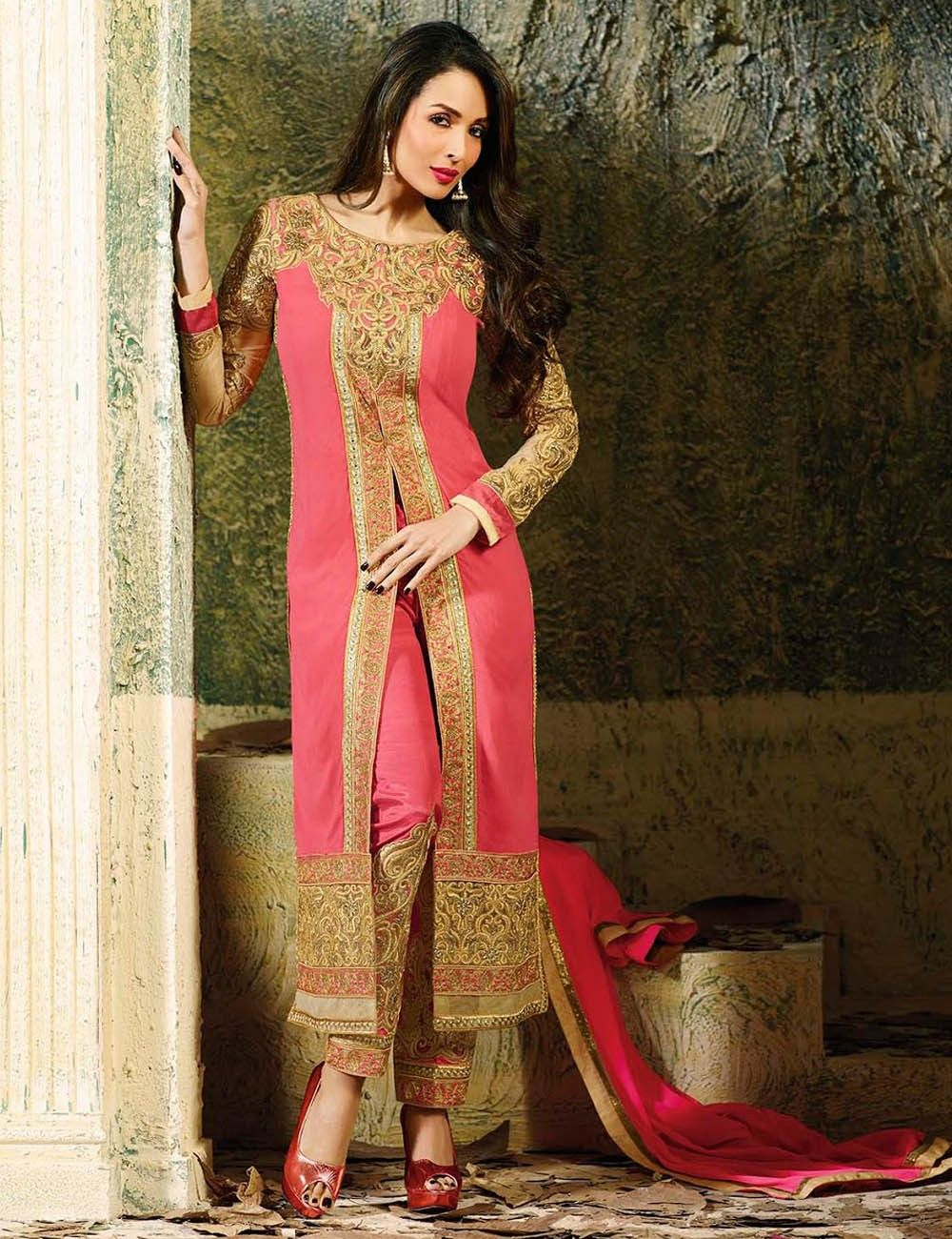 Red Designer Party Wear Straight Suit