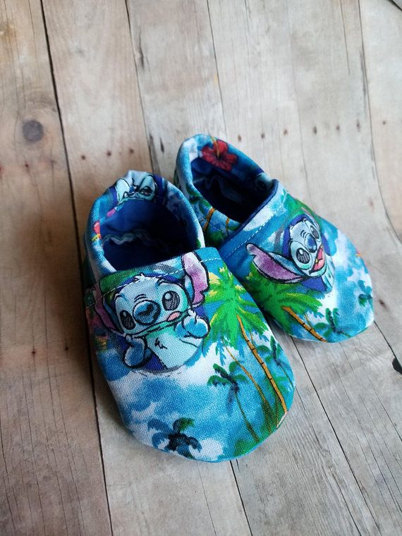 97bc9056abc1ed Booties Crib Shoes Stitch Hawaii Blue monster Baby