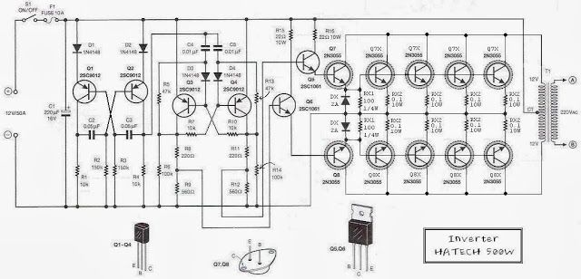 simple inverter circuit diagram 500w