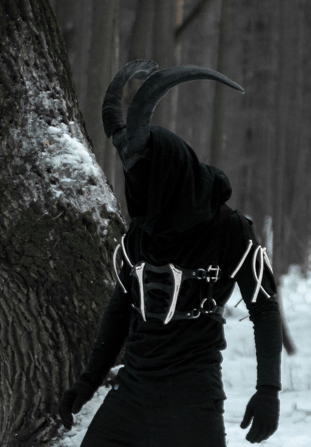 If you bought two of the dog horns and attached them to a hood with strap?