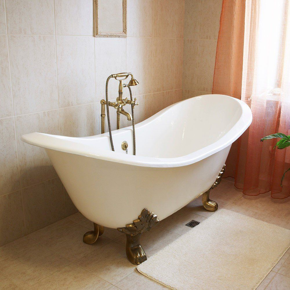 Bella casa inch cast iron double slipper bathtub tubs