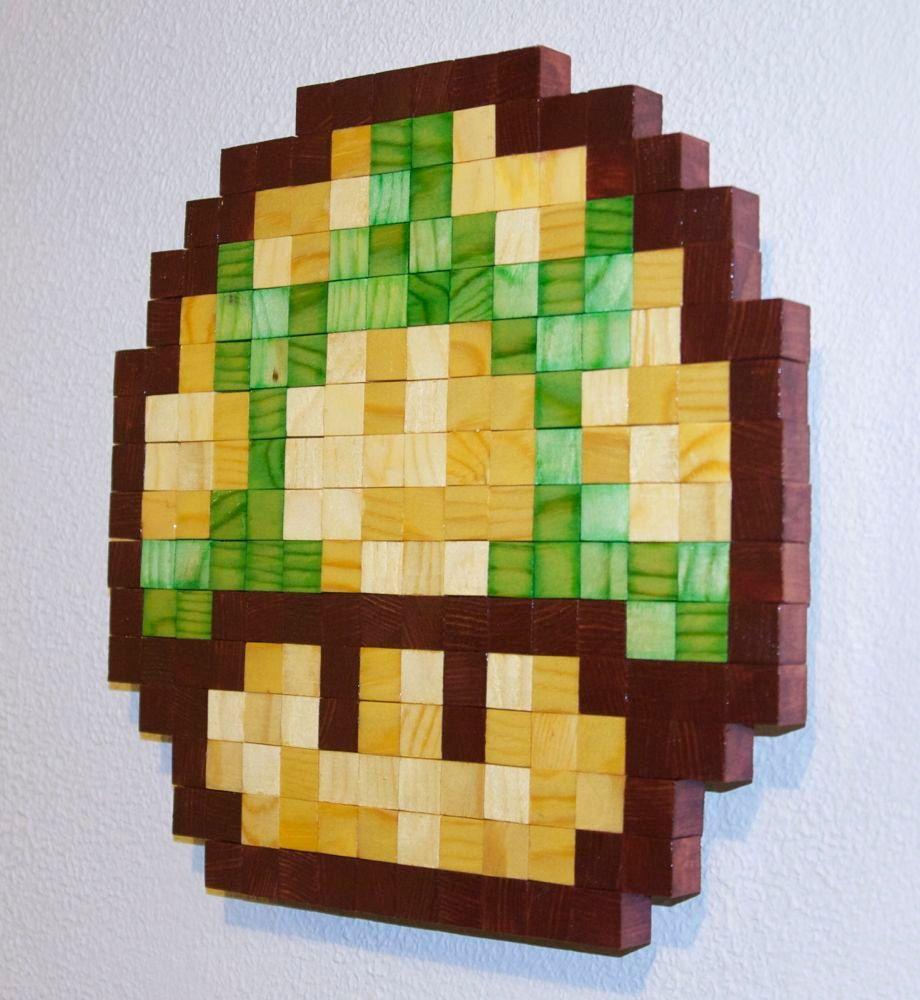 Mario 1up Mushroom Wooden Pixel Wall Art   Mushrooms, Office walls ...