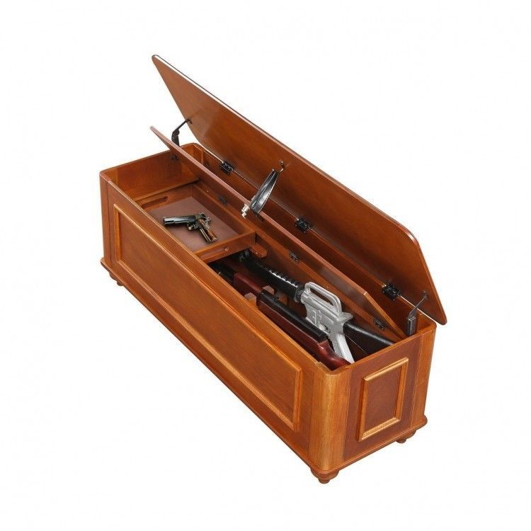 US $350.70 #gunstorage #gunbench Wood Gun Storage Bench Entryway False Bottom Storage Cabinet Safe Chest Table