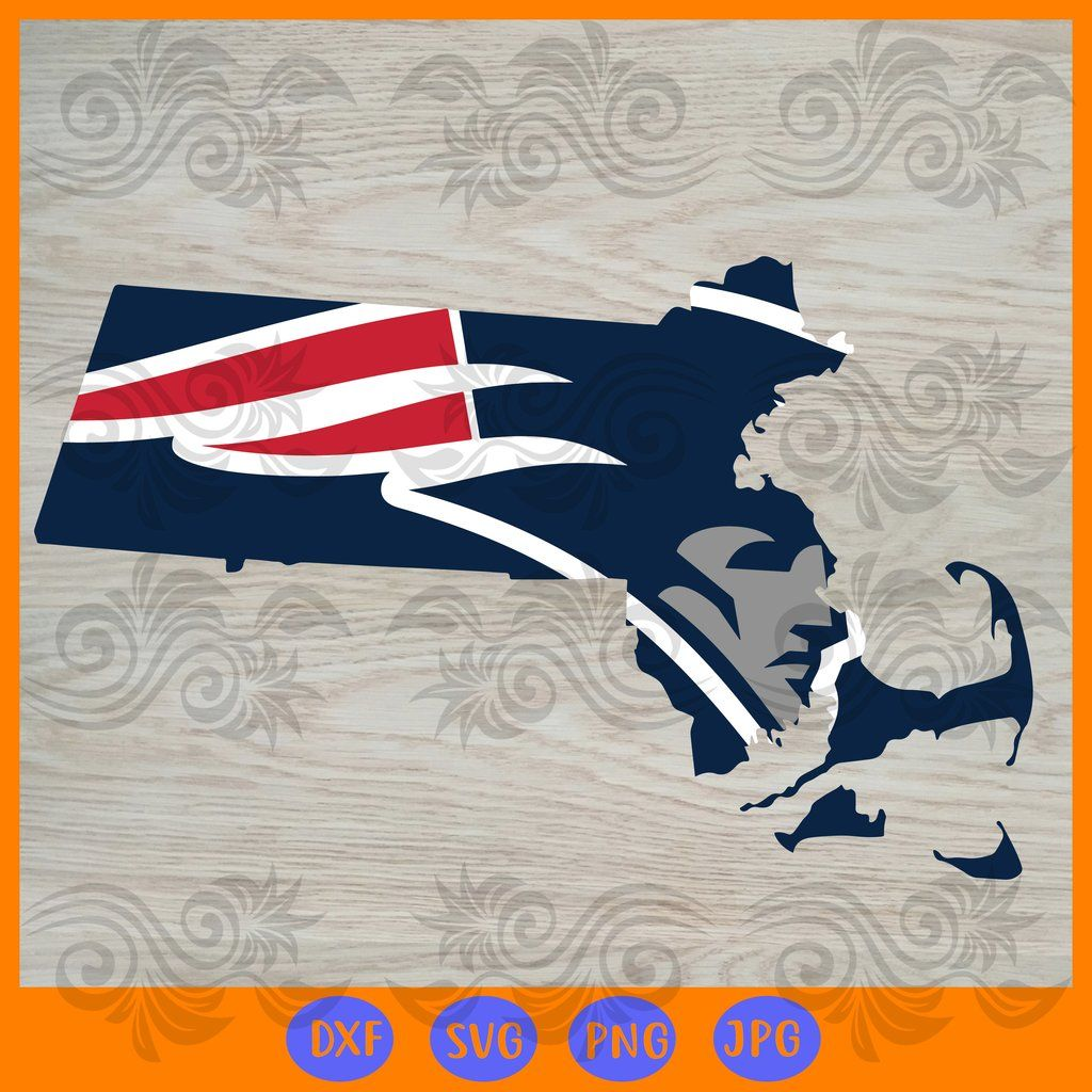Nfl new england patriots state map SVG, DXF, EPS, PNG