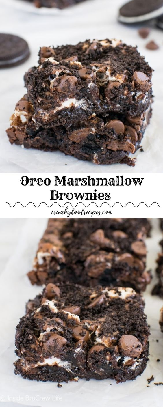 Oreo Marshmallow Brownies #chocolatemarshmallowcookies