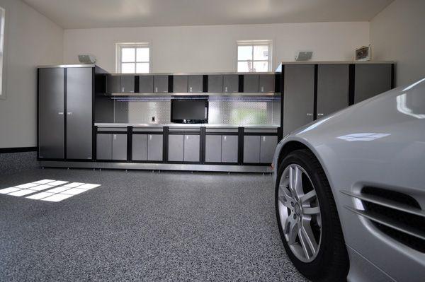 Dream Garages And Workshops Blue And Grey Garage Cabinets