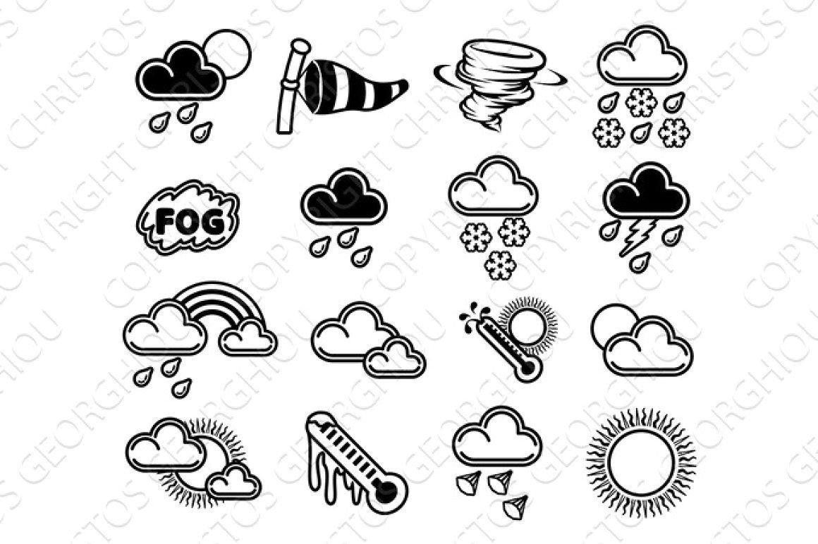 Weather Icons Black Burst Bursting Clipart Cloud Cold