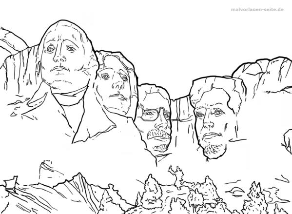 Malvorlage Mount Rushmore | Kostenlose malvorlagen, Ausmalbilder und ...