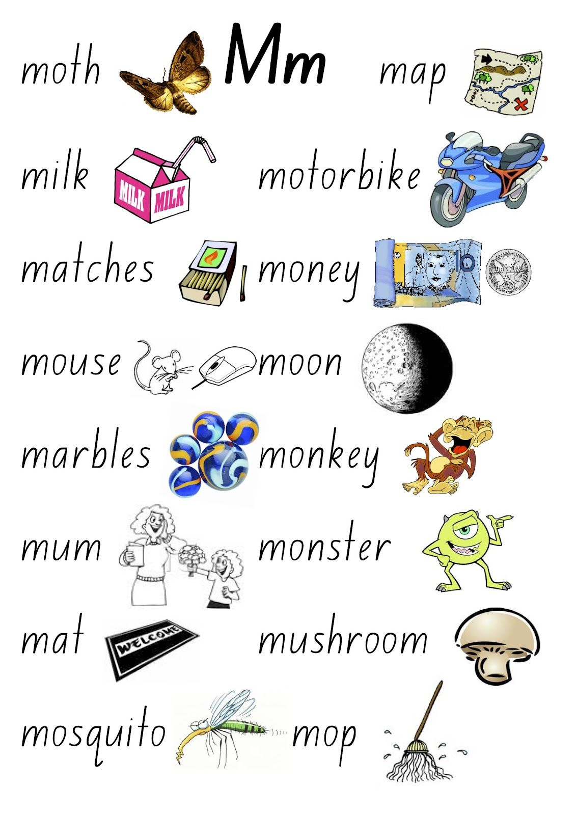 Letter M Words For Preschool Choice Image Examples Ideas