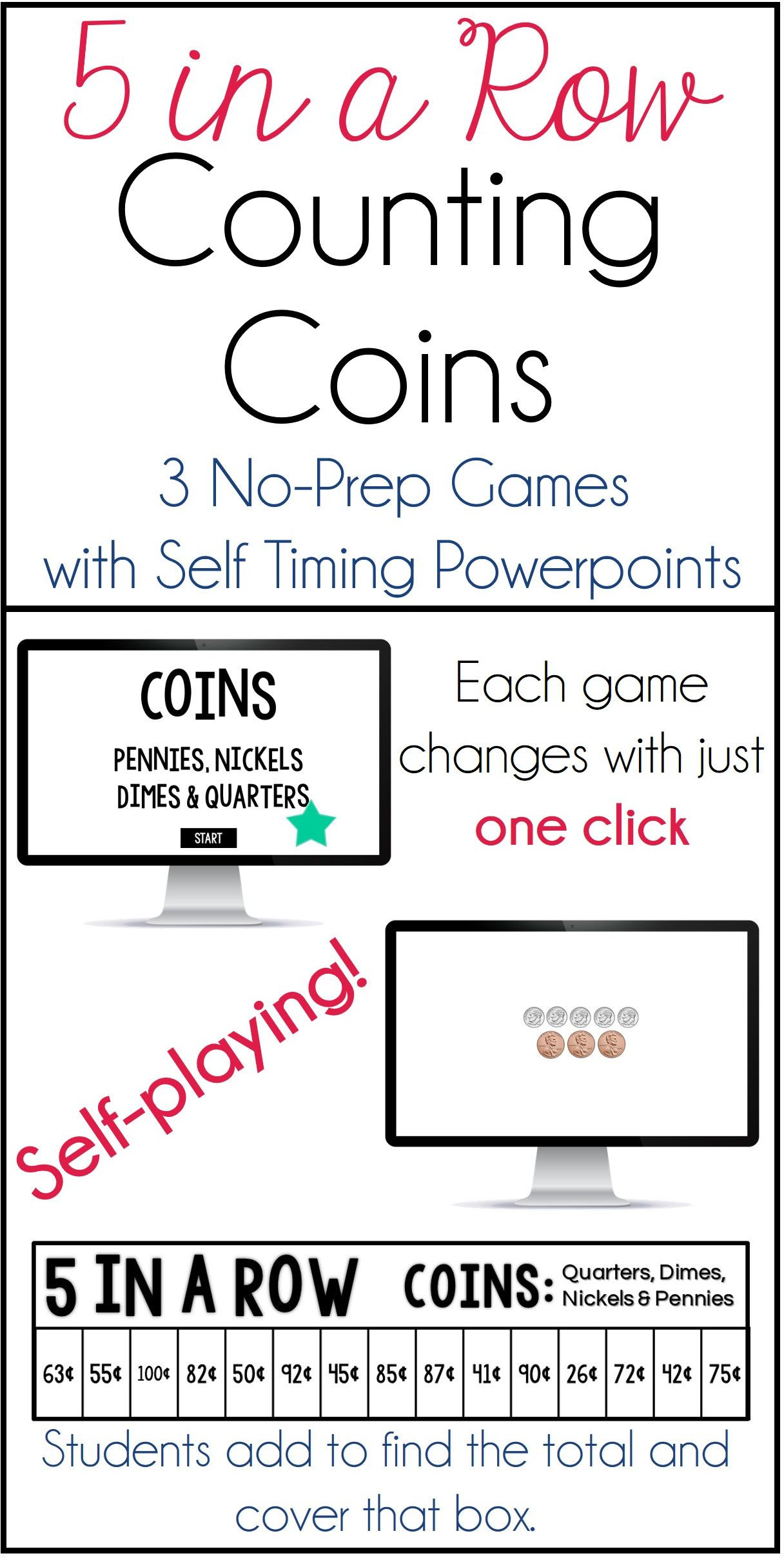 Counting Coins 5 In A Row 3 No Prep Games Amp Powerpoints