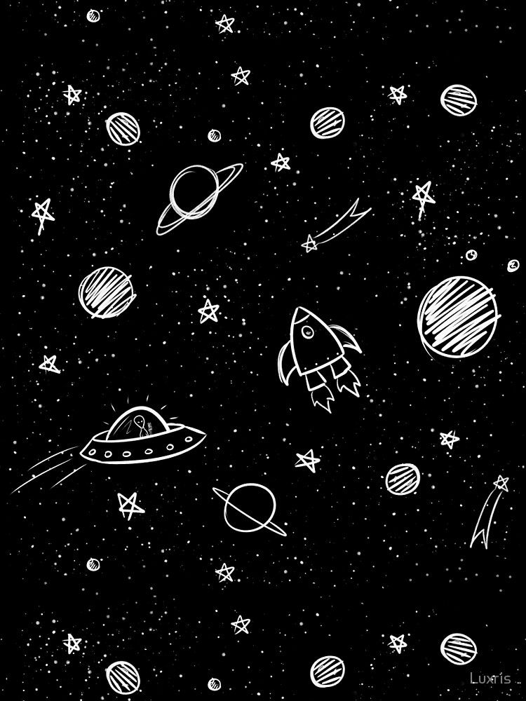 Doodle Galaxy Graphic T-Shirt by Luxris