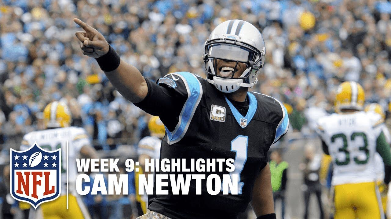 Cam newton highlights week 9 packers vs panthers