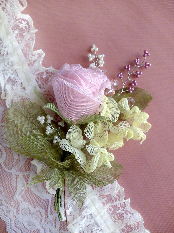 Vintage Rose Fabric Flower Hair Clip Pink Rose Fabric Pink Chiffon