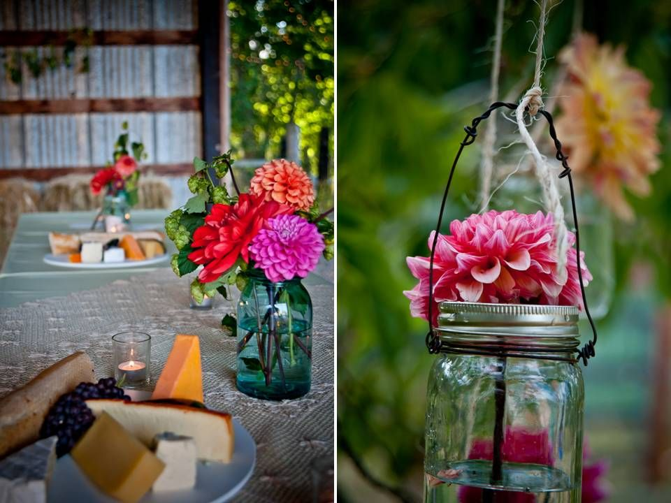 DIY Wedding Flower Centerpiece With Colorful Daisies Hanging Vases