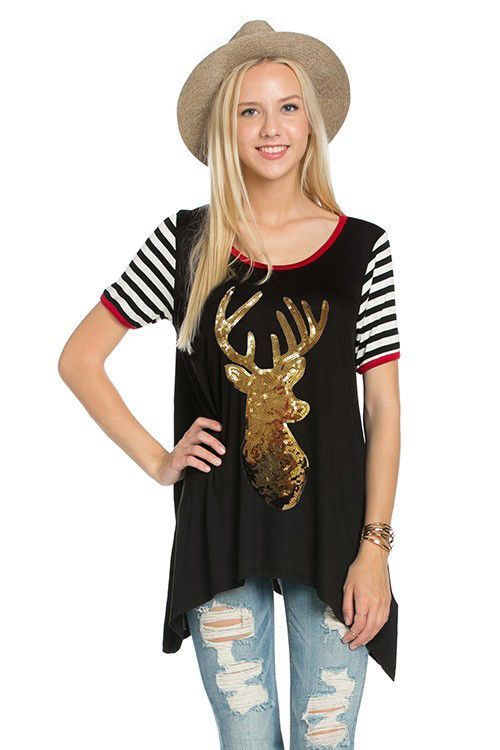 Sequin Deer Tee