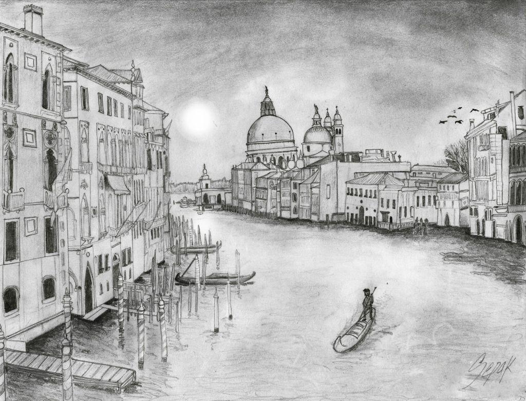 canal de venecia de dibujo a lapiz