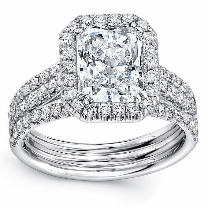 c1c40214c Radiant Cut & Round Brilliant 3.00 ctw VS2 Clarity, I Color Diamond  Platinum Ring