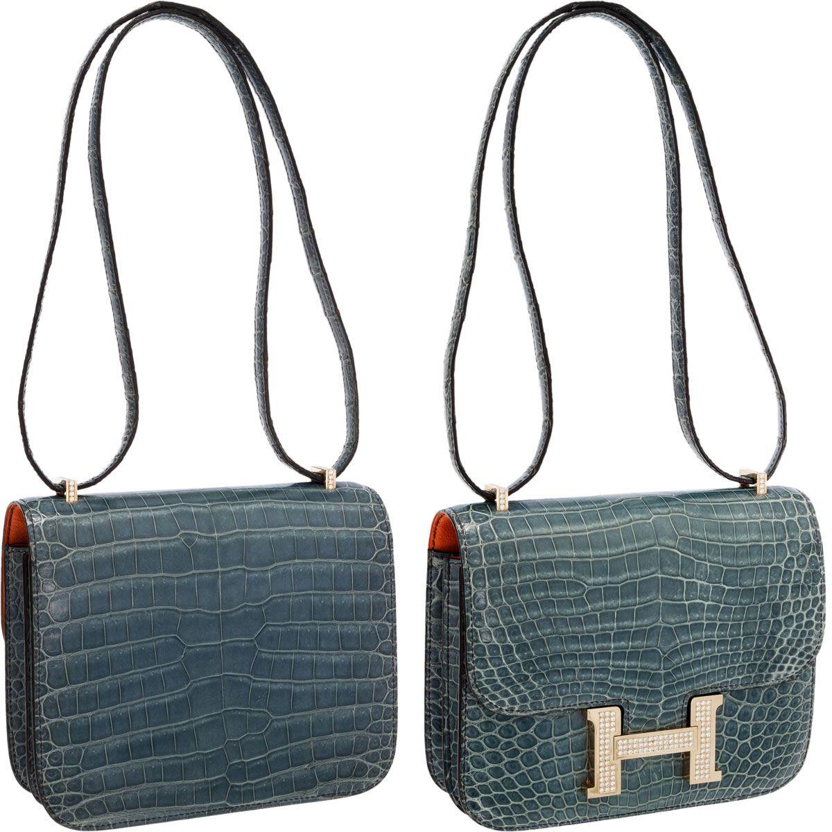 1236bea2a123 Hermes Extraordinary Collection 18cm Diamond Blue Jean Porosus Crocodile  Double-Gusset Constance Bag