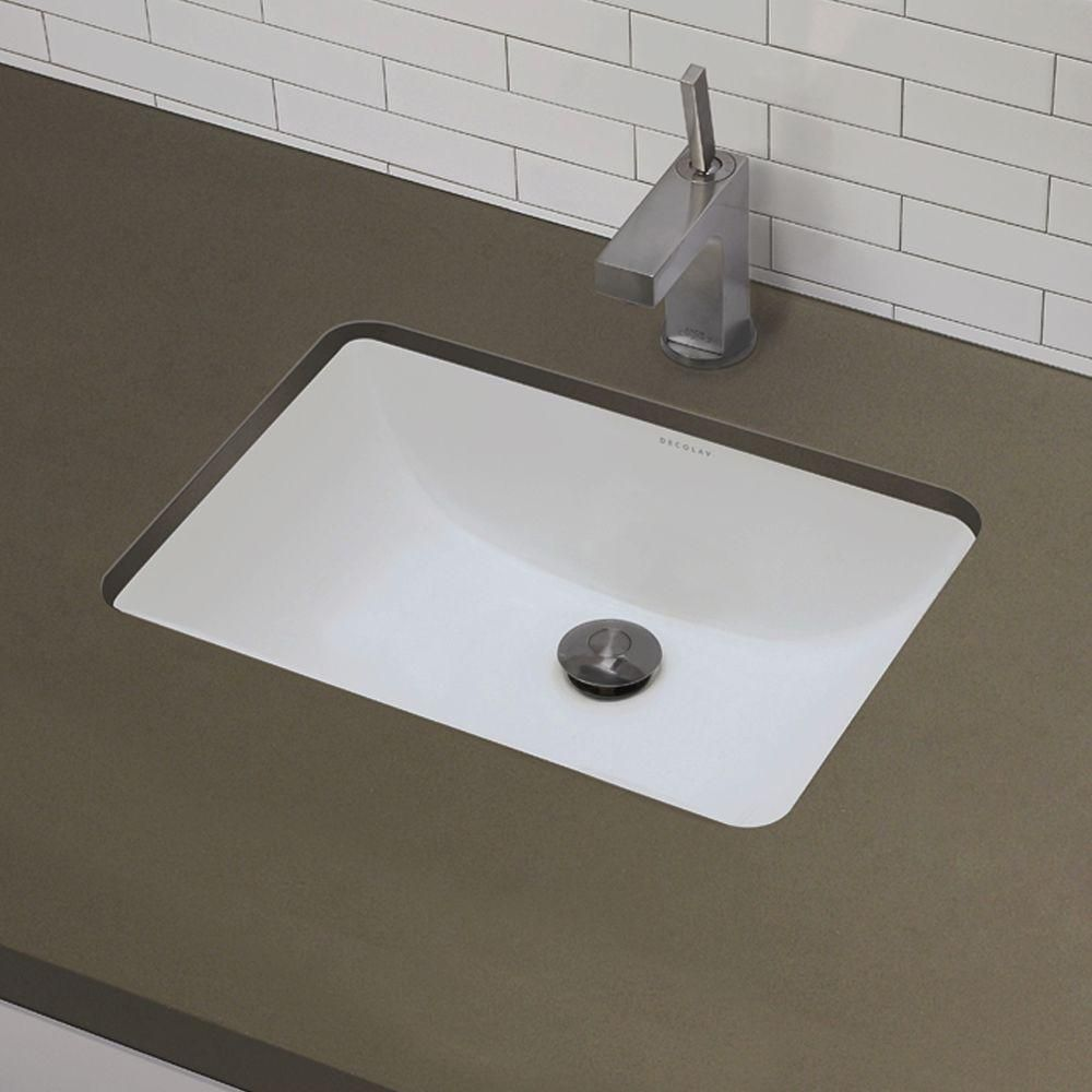 Decolav Classically Redefined Rectangular Undermount Bathroom Sink In White 1402 Cwh The Home Depot Undermount Bathroom Sink Bathroom Sink Sink