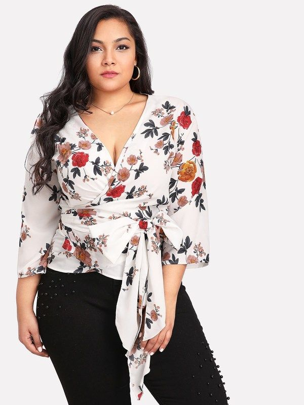 e2c577bf3ea8  ad Plus Self Belted Surplice Wrap Floral Top. Price   26.00. Multicolor  Vacation Three Quarter Length Sleeve Floral Belted Fabric has no stretch  Spring ...