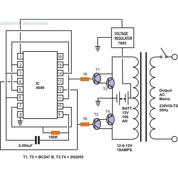 Simple Inverter Circuit Without Charger  Circuit Diagram