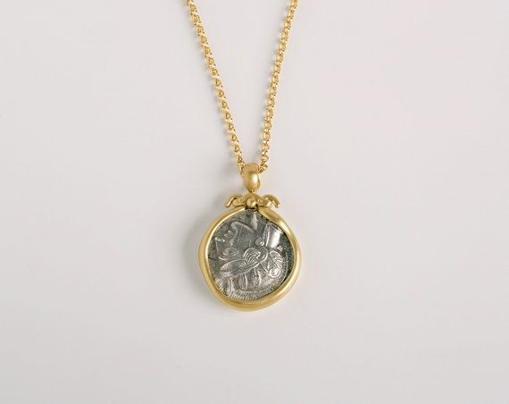Owl of athena ancient greek silver coin pendant 18k gold pendant owl of athena ancient greek silver coin 18k gold pendant womens authentic greek coin pendant mozeypictures Choice Image