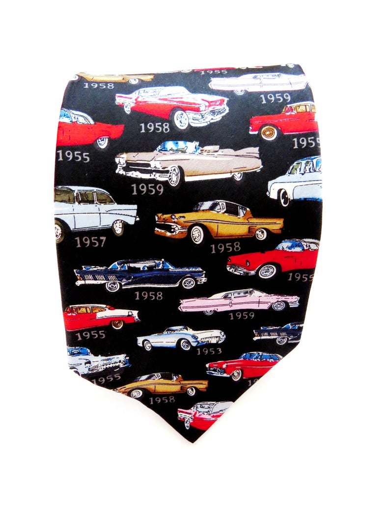 1950s Classic Cars Silk Necktie – Museum Artifacts Novelty Tie – Gold Pink Blue Red Black Retro 50s Antique Cars Mens Tie – Gift for Him
