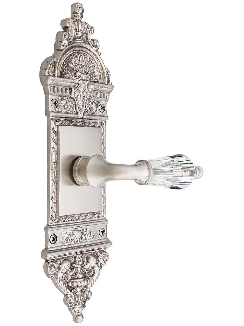 European Door Set With Crystal Glass Lever Handles   House of ...