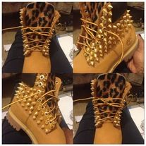 Wheat & Leopard Gold Spiked Timberlands (TODDLER SIZES 4 12
