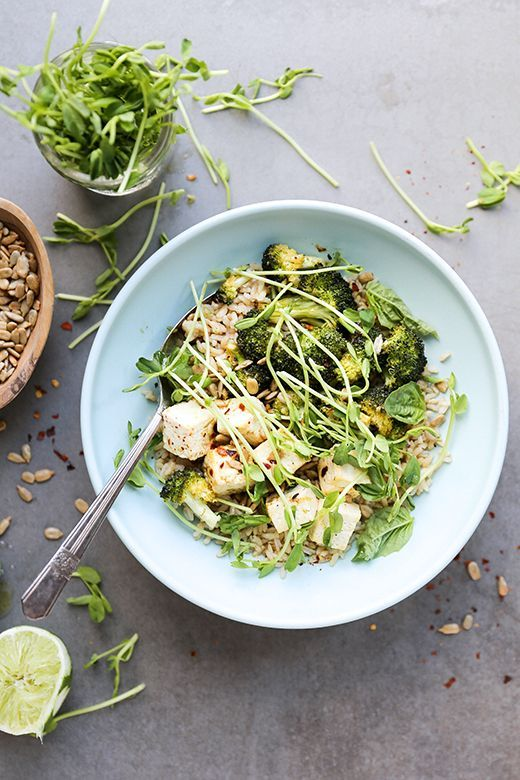 Roasted Chili Basil Lime Tofu Bowls   www.floatingkitchen.net