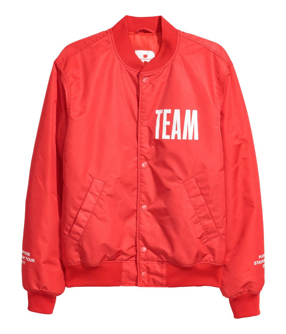 8433934521ef84 Justin Bieber STADIUM tour MERCH X H M Bomber Jacket with Motif in Bright  red  59.99. Padded bomber jacket in woven fabric with a printed motif.