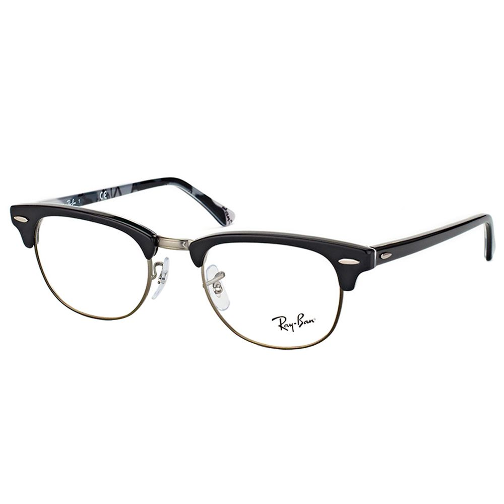 7f9731cc70 Ray-Ban RX 5154 5649 Clubmaster Black Plastic 49-millimeter Logo Eyeglasses  (Black on Logo)
