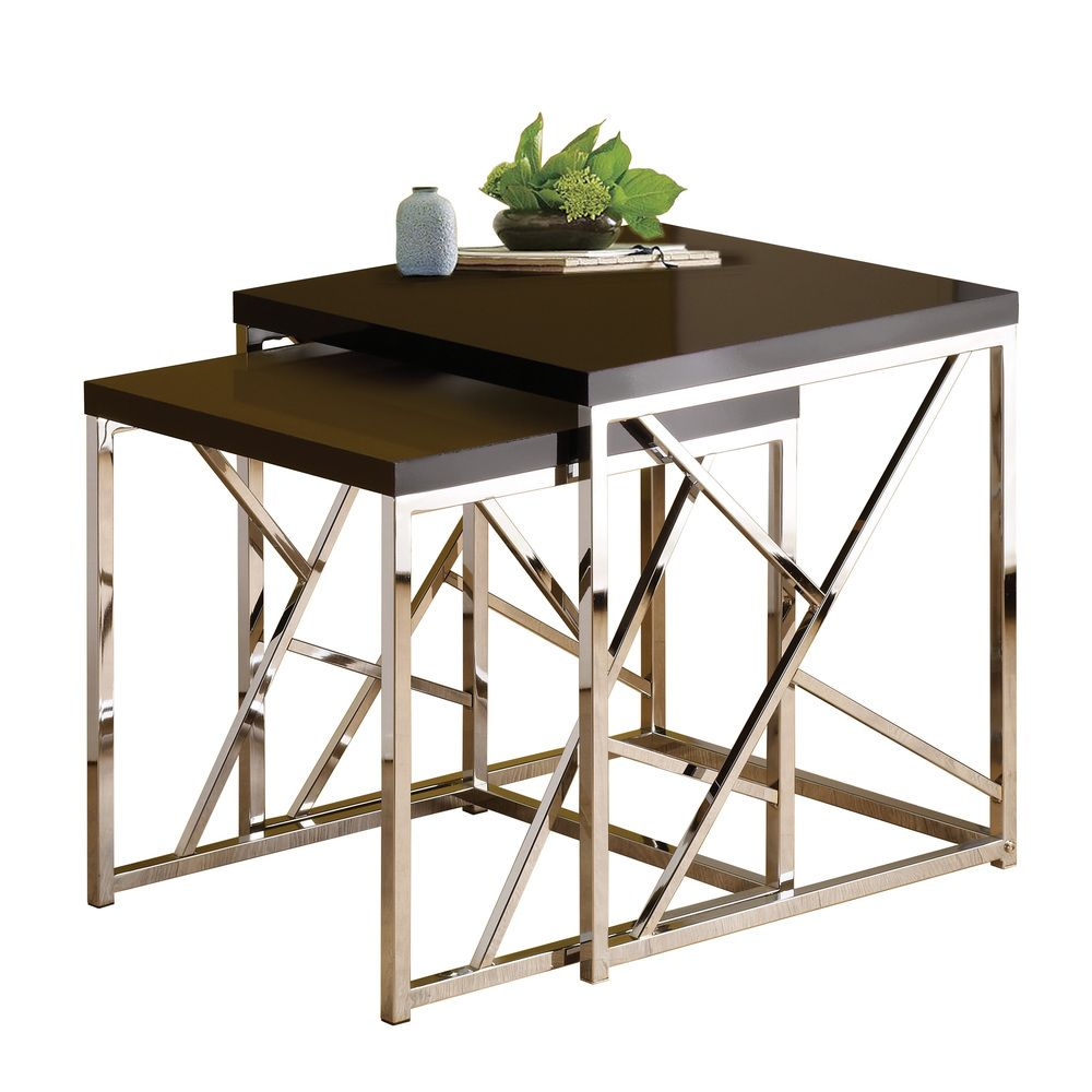 Charming $113 Overstock Gloss Black Top Nesting Table Set (Set Of 2) | Overstock.