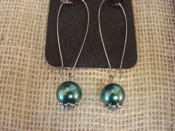 Dark Teal Pearl Earrings by AdornMeBoutiqueUSA on Etsy, $5.00