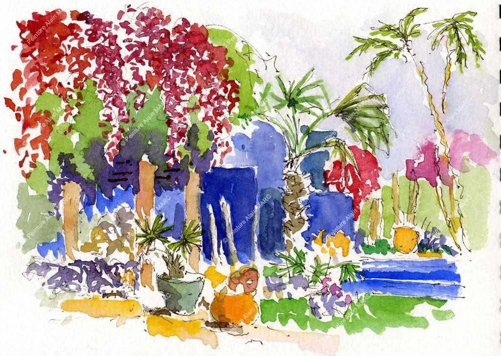Jardin Majorelle Carnet Du Maroc Aquarelle 21 X 29 7 Cm Valeur
