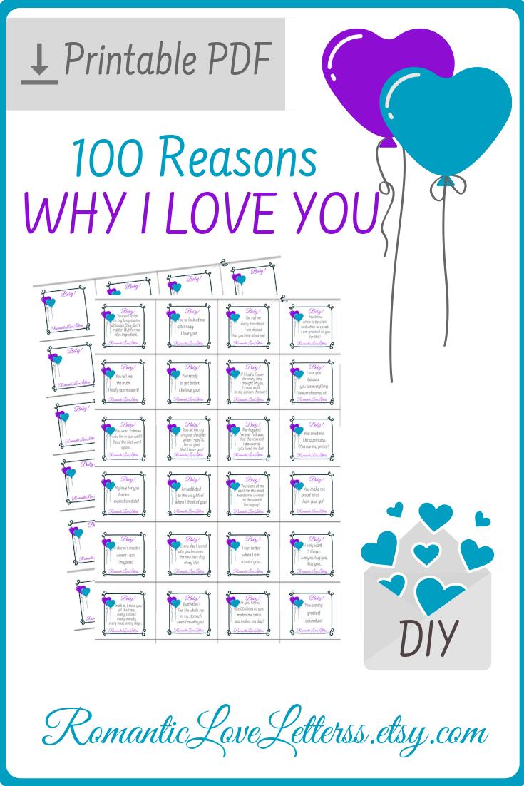 PRINTABLE 100 Reasons Why I Love You Romantic Love ...