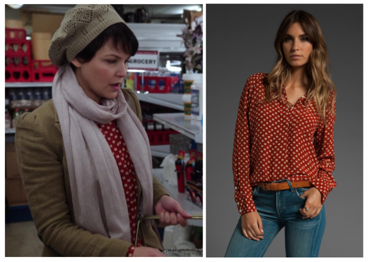 "Equipment Quinn Cuatro Puntos Print Blouse as seen on Mary Margaret in episode 1x10 ""7:15 A.M."" (No longer available). Note: Thanks to eclecticmuses for the tip!"
