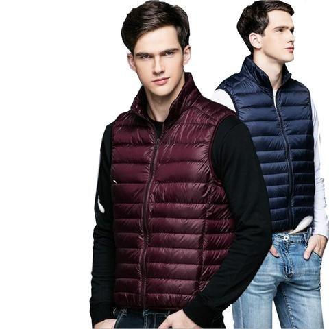 f9f3ed8a009 LEFT ROM fashion Men high-grade 90% White duck down Down vest/Male ...