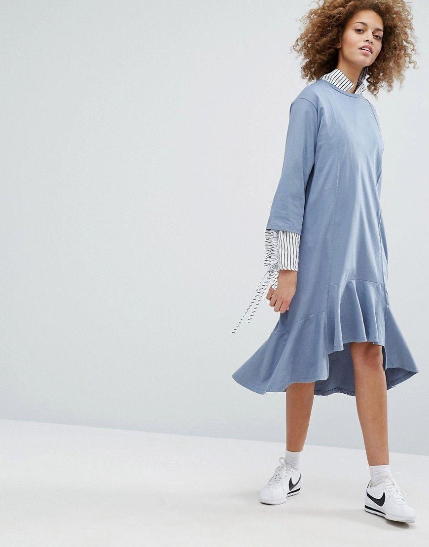 STYLENANDA Drop Waist Smock Dress - Blue Style Nanda uiKQq8n
