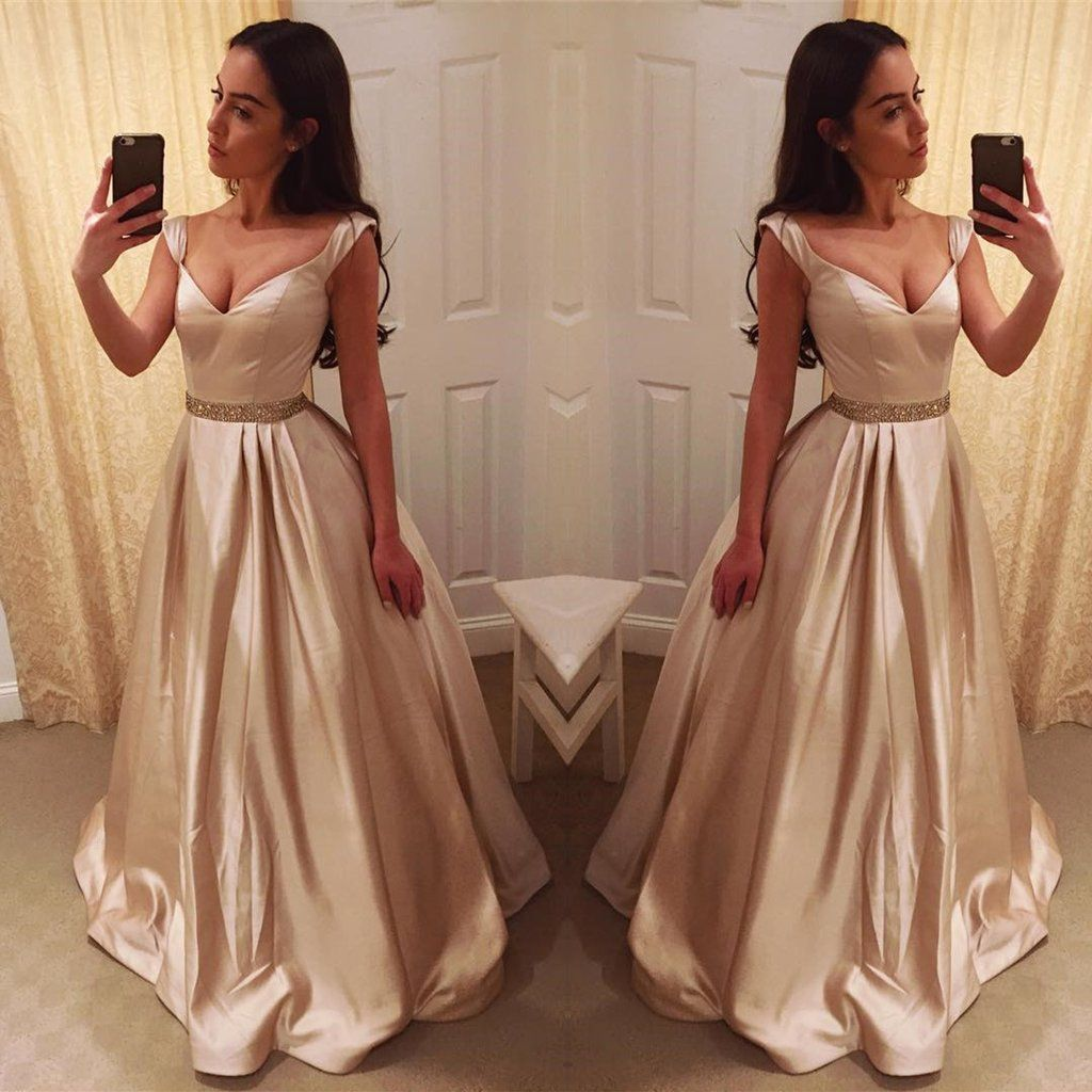 Deep v neck long satin champagne evening dresses off shoulder prom
