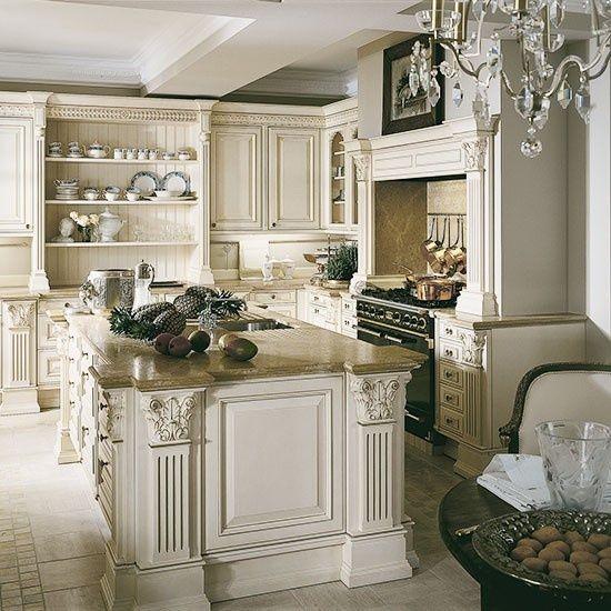 16 Absolutely Gorgeous Mediterranean Dining Room Designs: Elegant Cream Kitchen