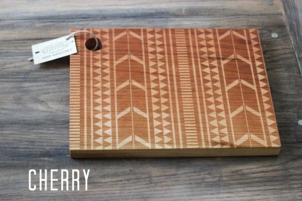 Cutting Board Designer Colors Tribal Design Cutting Board Wood Engraved  Modern Aztec Pattern